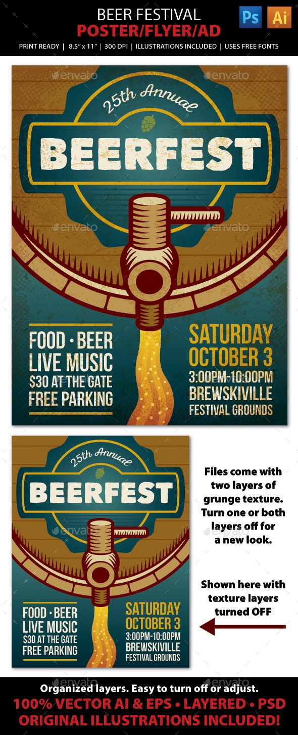 BEER FESTIVAL Event Poster, Flyer or Ad - Miscellaneous Events