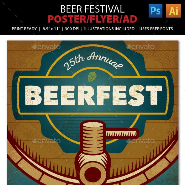 BEER FESTIVAL Event Poster, Flyer or Ad