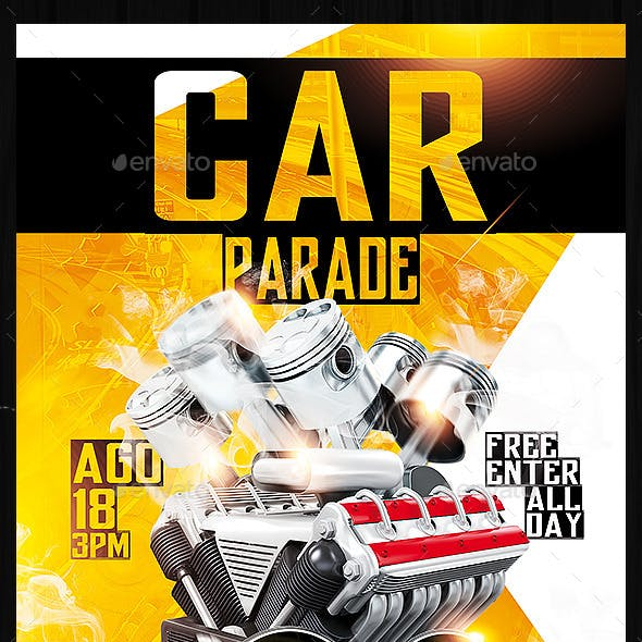 Car Show And Car Parade PSD Flyer