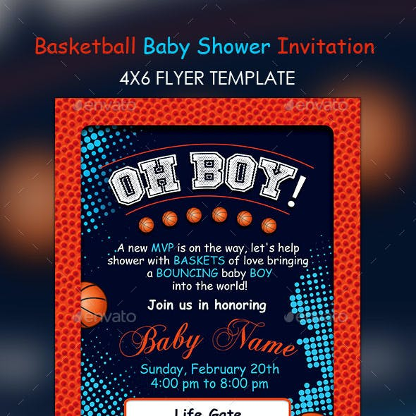 Basketball Baby Shower 4x6 Invitation