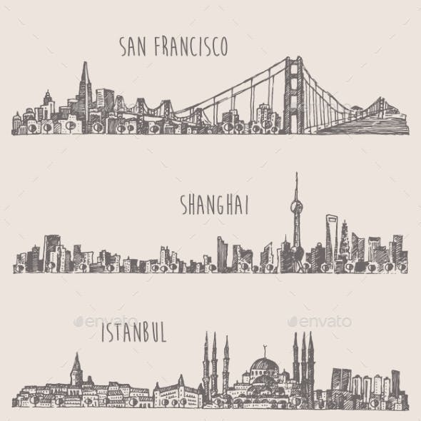 Shanghai Istanbul San Francisco City Sketch