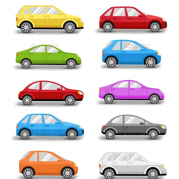 Multicolored Cars Collection with Shadow on White