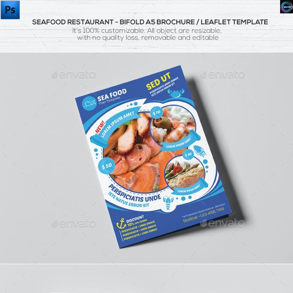 Seafood Restaurant-A5 Brochure/Leaflet Template