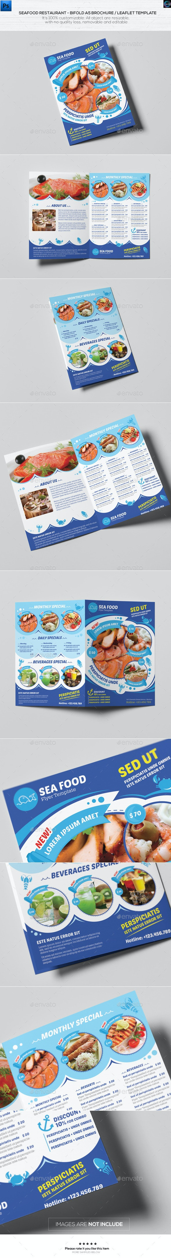 Seafood Restaurant-A5 Brochure/Leaflet Template - Catalogs Brochures