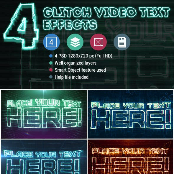 4 Glitch Video Text Effects