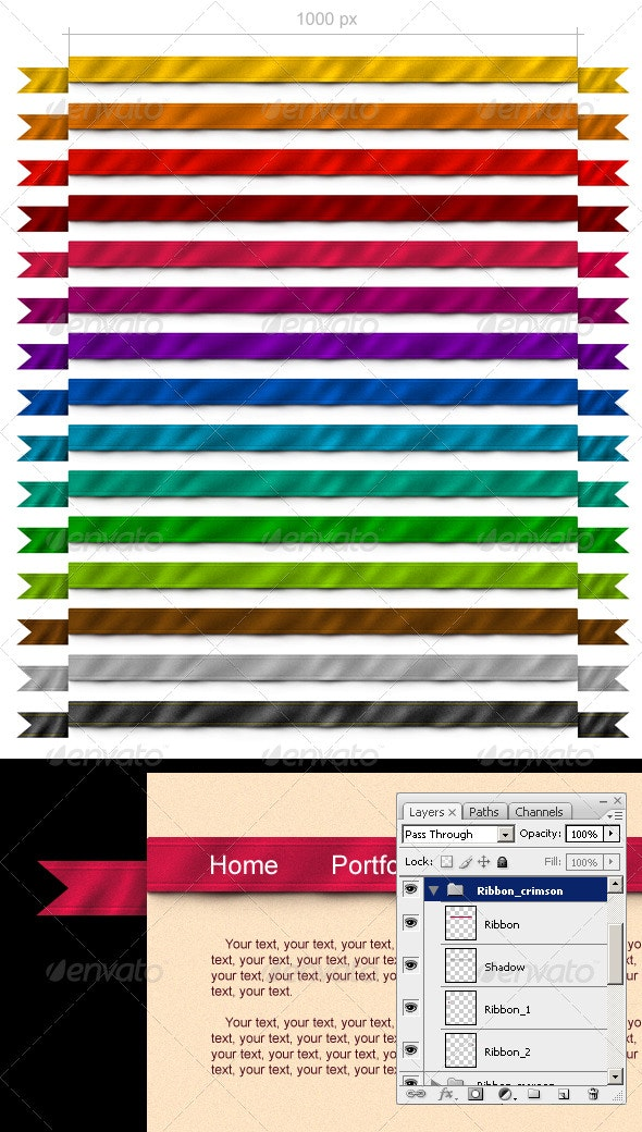 15 Ribbons for Your Site - Navigation Bars Web Elements