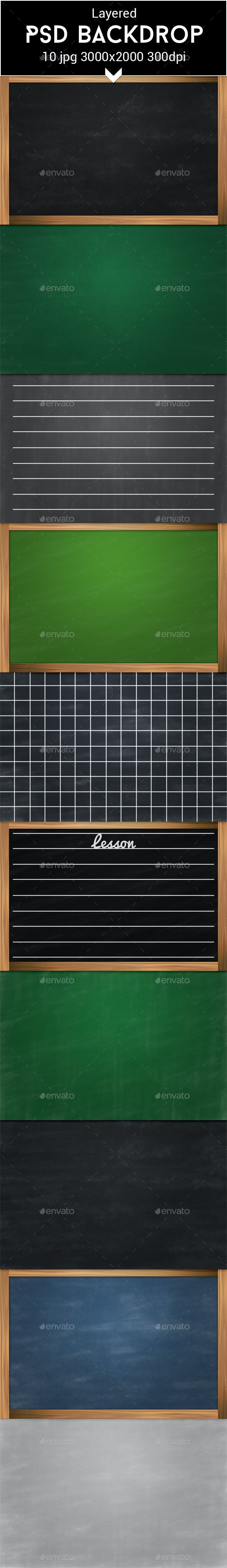 Chalkboard PSD Backdrop - Education Backgrounds