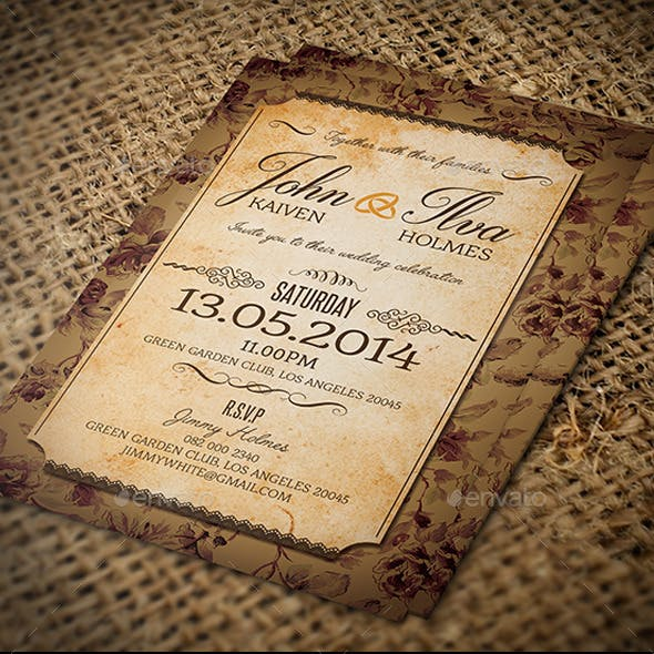 Vintage Post Card Wedding Invitation