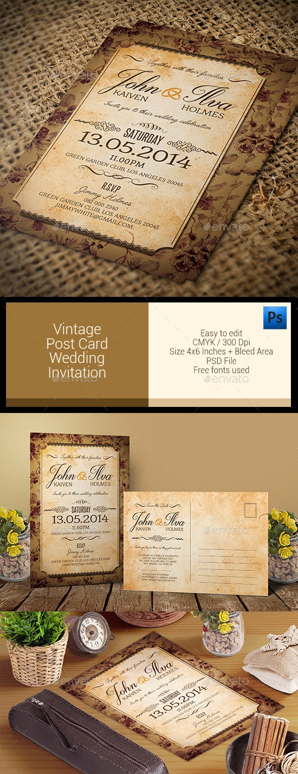 Vintage Post Card Wedding Invitation - Weddings Cards & Invites