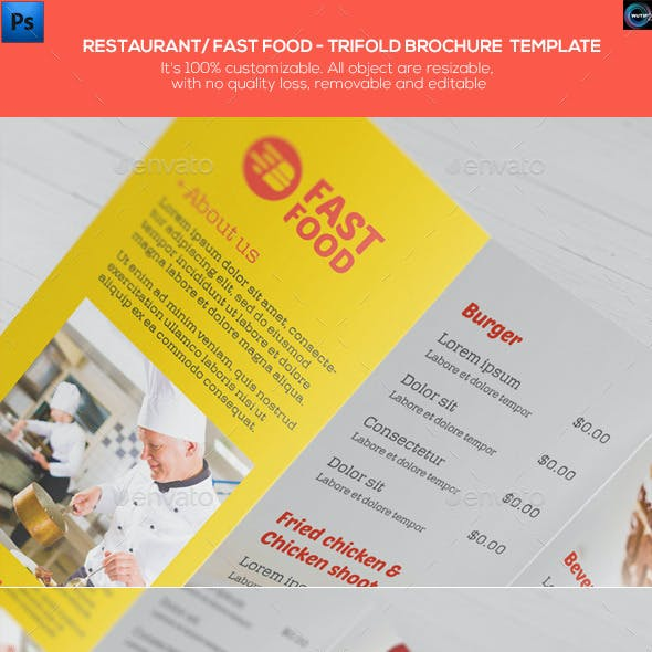 Restaurant/ Fast Food - Trifold Brochure Template