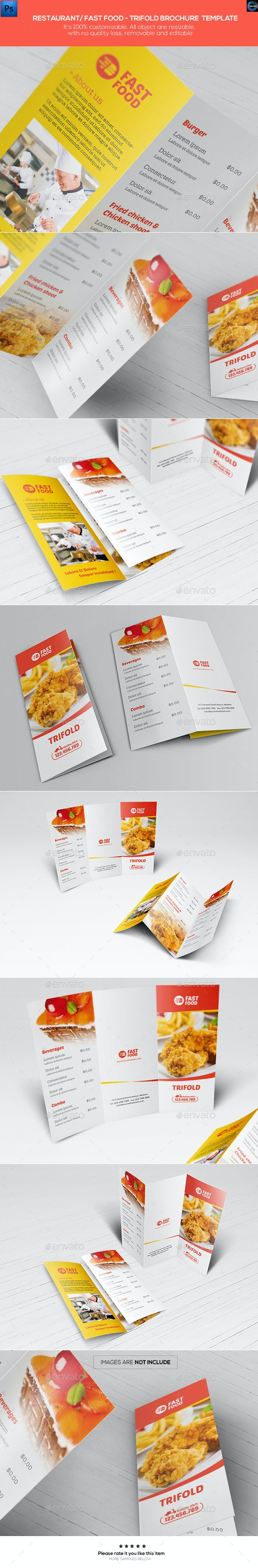 Restaurant/ Fast Food - Trifold Brochure Template - Catalogs Brochures