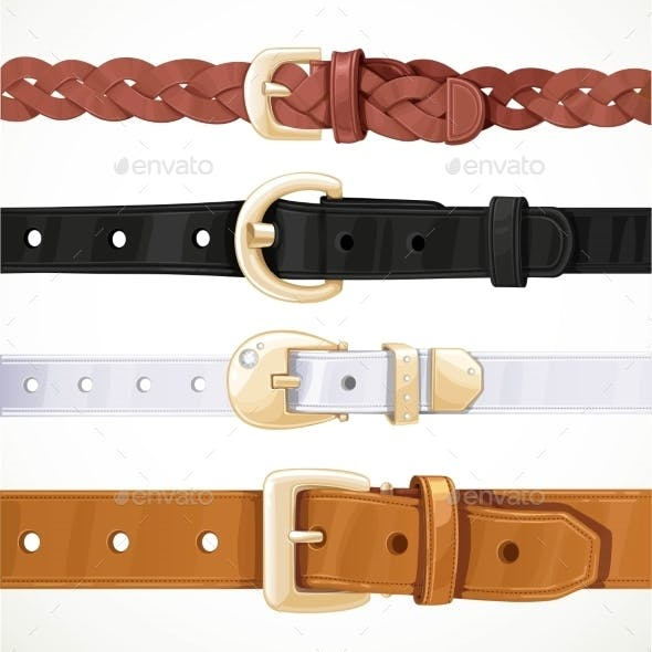 Set Of Multicolored Buttoned To Buckle Belts