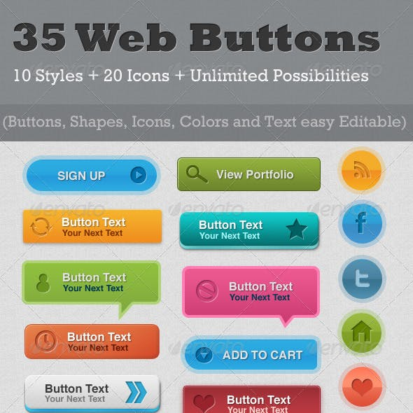 35 Resizable Web Buttons
