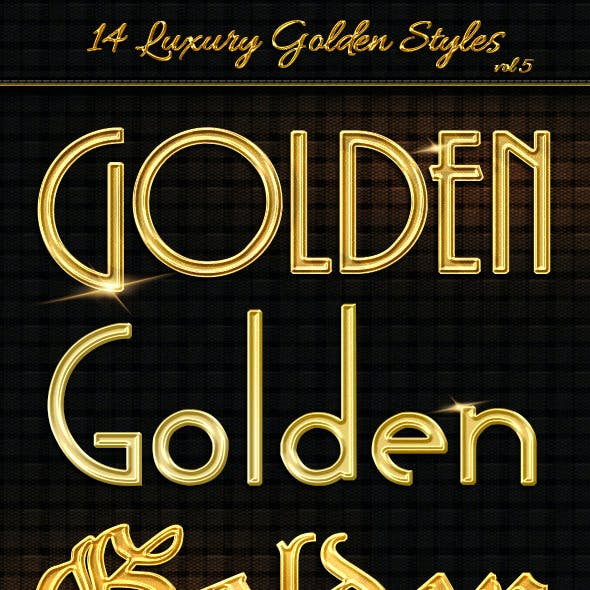14 Luxury Golden Text Styles vol5