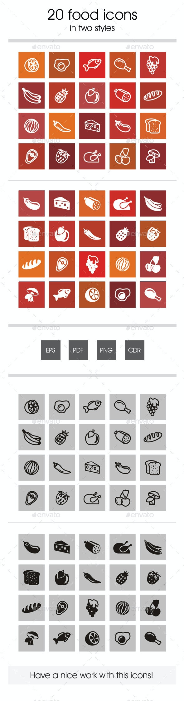 20 Food Icons - Food Objects