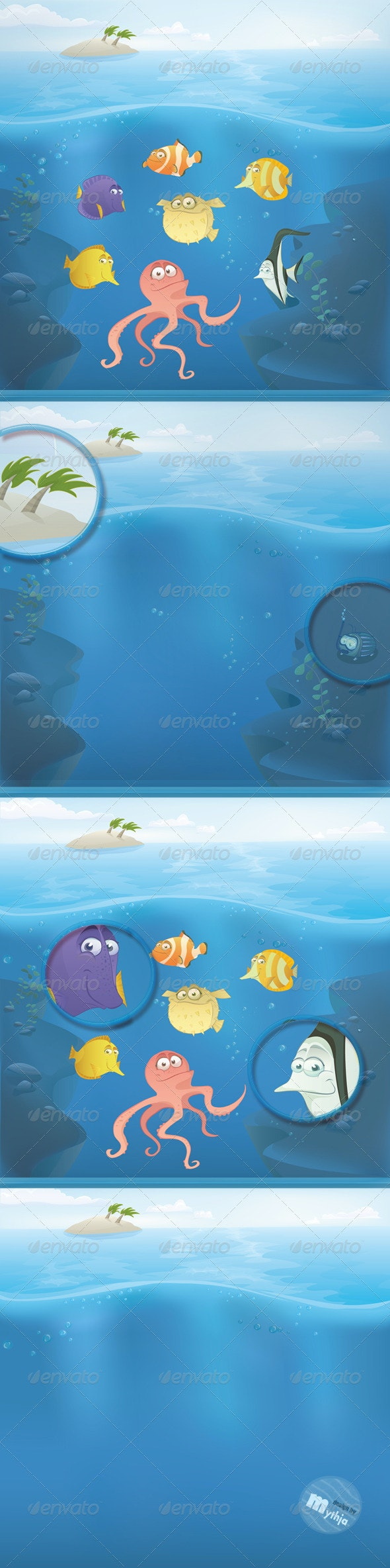 Vector Fish Set with Summer Landscape - Characters Vectors