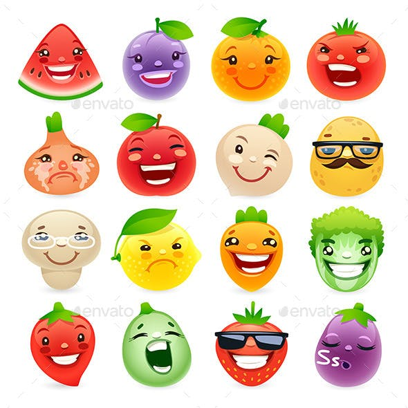 Funny Cartoon Fruits and Vegetables