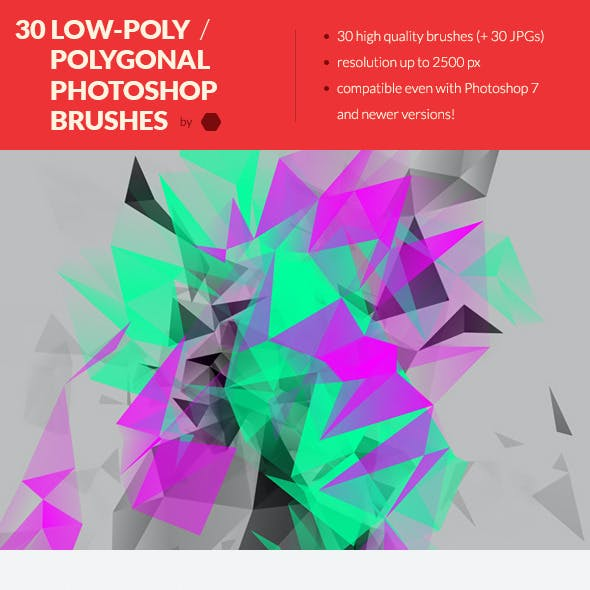 30 Low-Poly / Polygonal Photoshop Brushes