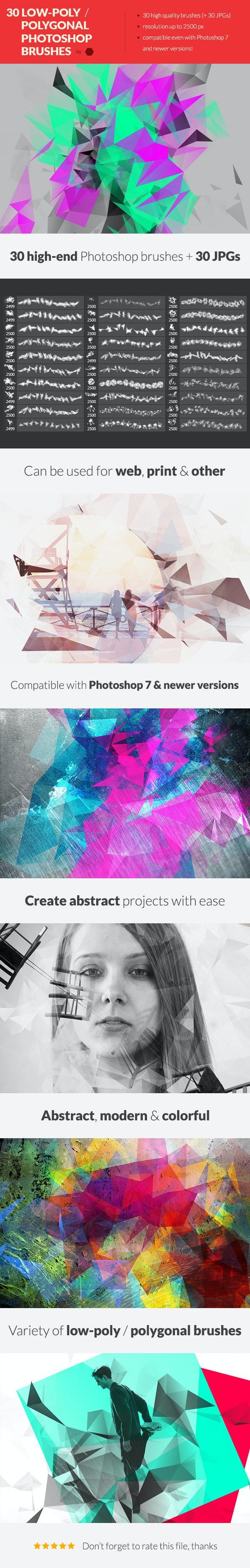 30 Low-Poly / Polygonal Photoshop Brushes - Brushes Photoshop