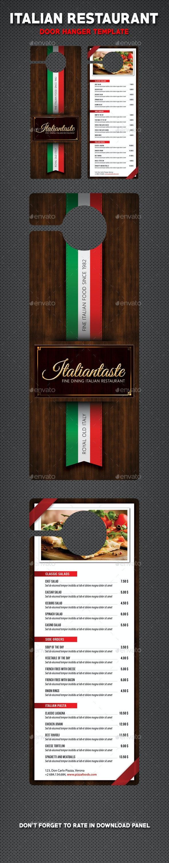 Italian Restaurant Menu Door Hanger - Miscellaneous Print Templates
