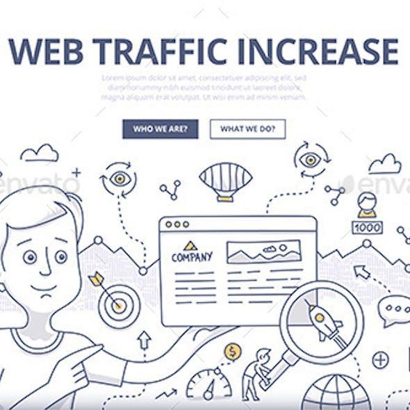 Web Traffic Doodle Concept