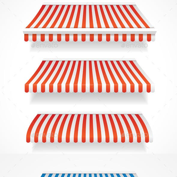 Colorful Awnings for Shop Set