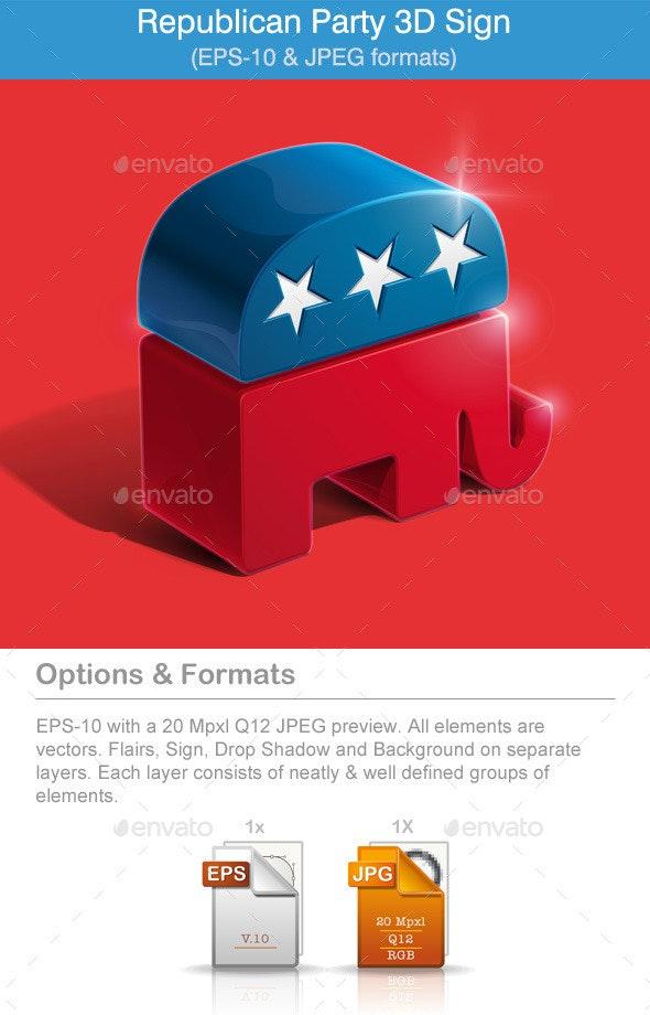 American Republican Party 3D Sign - Miscellaneous Vectors