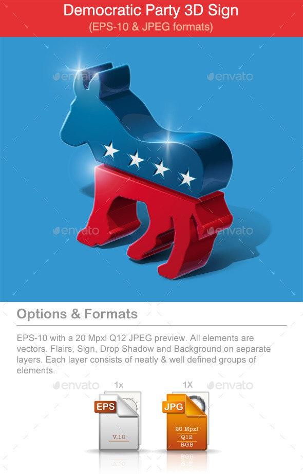 American Democratic Party 3D Sign - Miscellaneous Vectors
