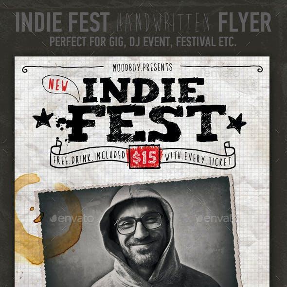Indie Fest Handwritten Flyer/Poster