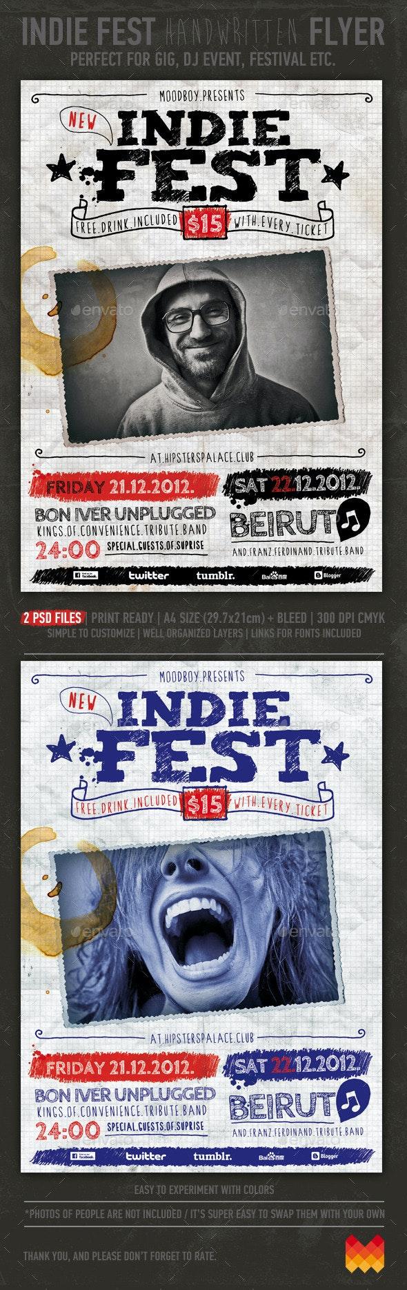 Indie Fest Handwritten Flyer/Poster - Events Flyers