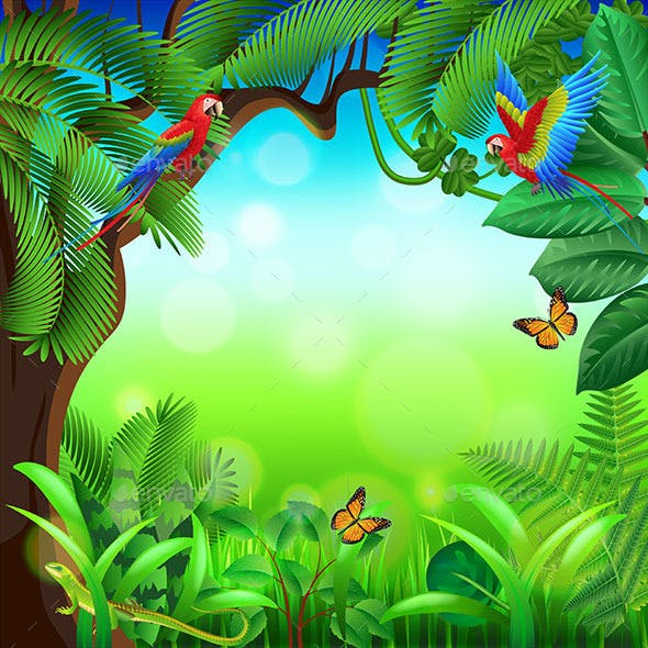 Tropical Jungle with Animals Background