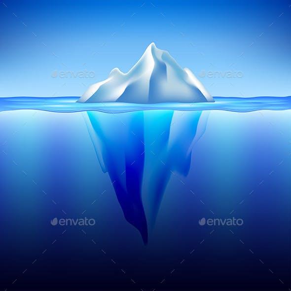 Iceberg in Water Vector Background