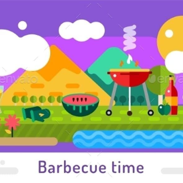Barbecue And Food Icons Vector Set Outdoor