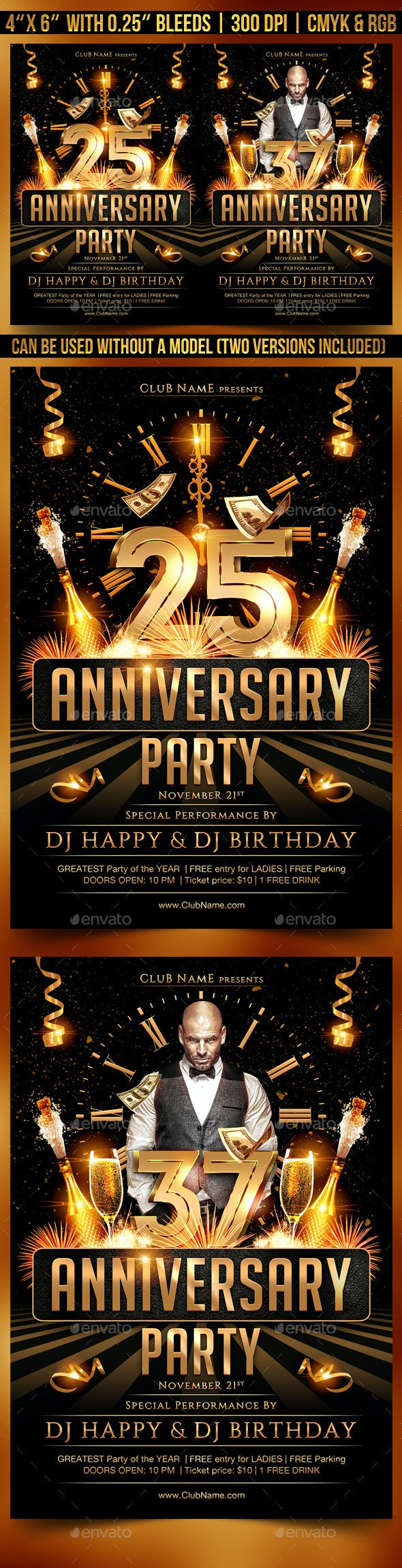 Anniversary Flyer Template - Clubs & Parties Events