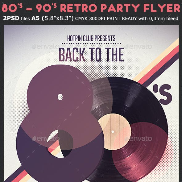 80s/90s Retro Party Flyer Template