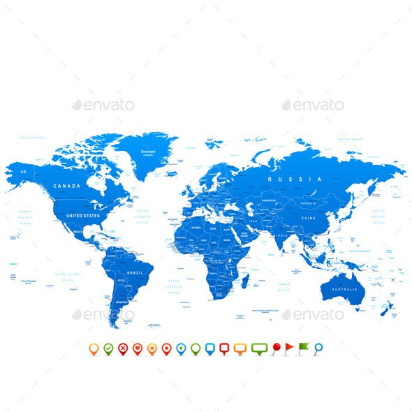 Blue World Map and Navigation Icons