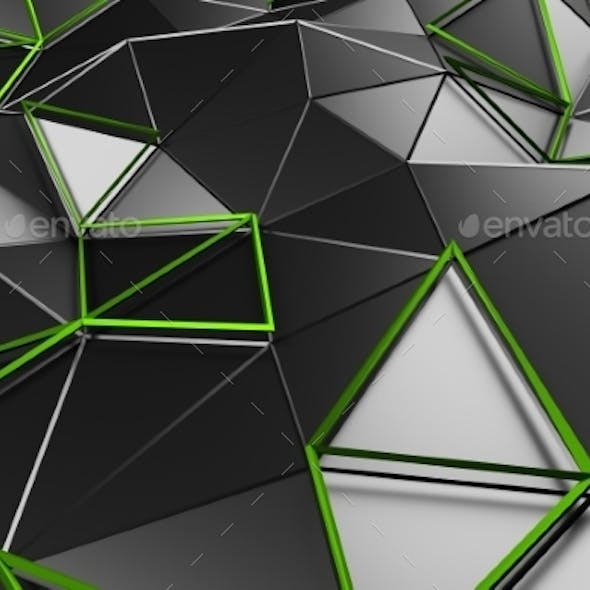 Abstract 3D Rendering Of Low Poly Black Surface