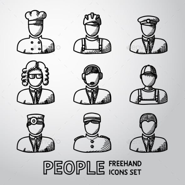 Set Of Hand Drawn People Faces
