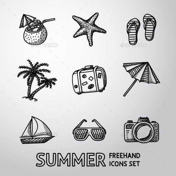 Summer Holidays Monochrome Freehand Icons Set