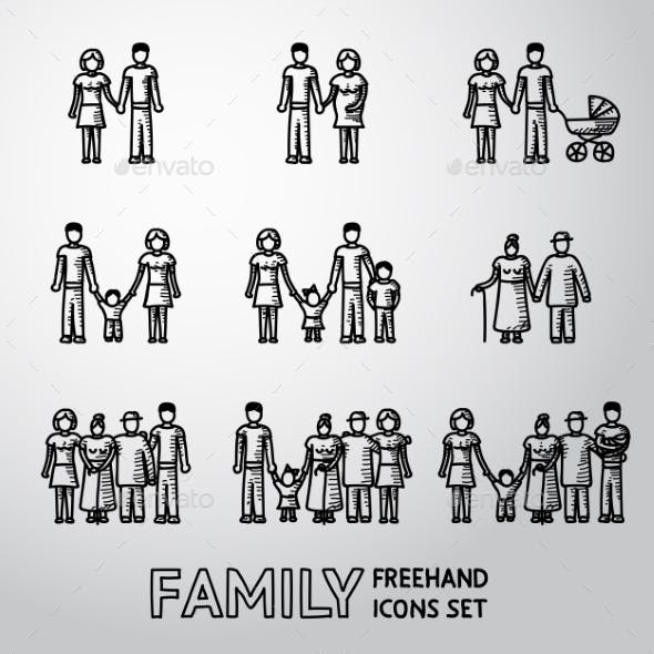 Multigenerational Family Freehand Icons Set