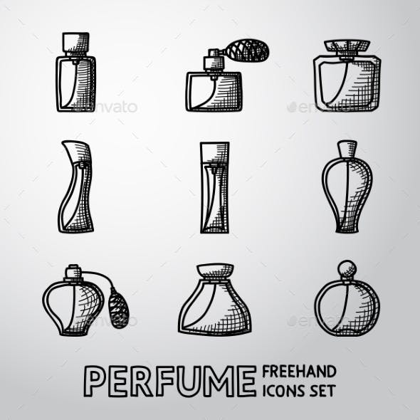 Perfume Handdrawn Icons Set With Different Shapes