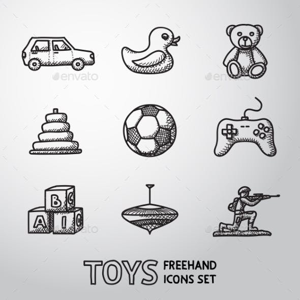 Toys Hand Drawn Icons Set With - Car, Duck, Bear