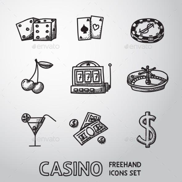 Casino, Gambling Freehand Icons Set. Vector