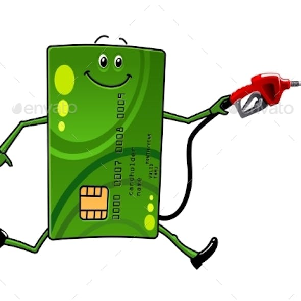 Credit Card Character With Gasoline Pump