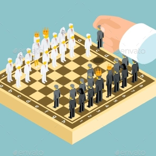 Isometric 3d Business Chess Figures. Business