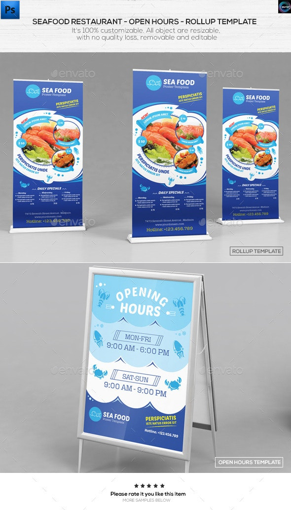Seafood Restauran - Open hours/ RollUp Template - Signage Print Templates