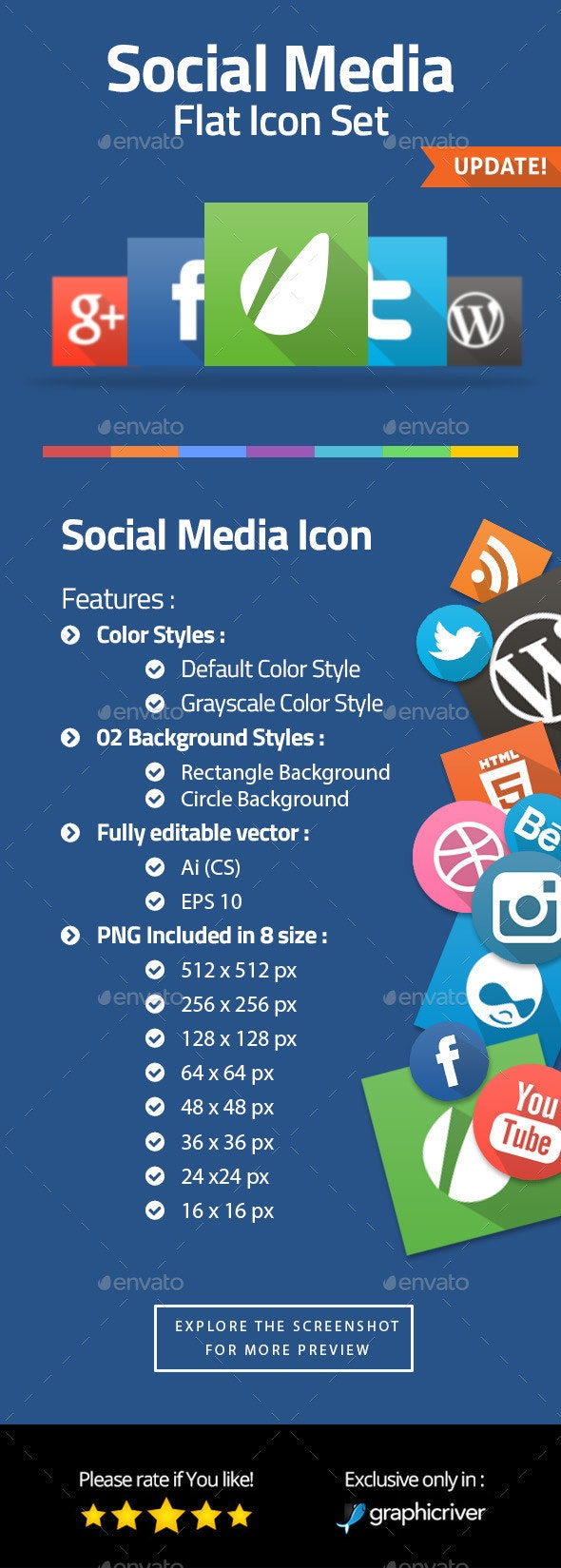Contact & Social Media Flat Icons - Web Icons