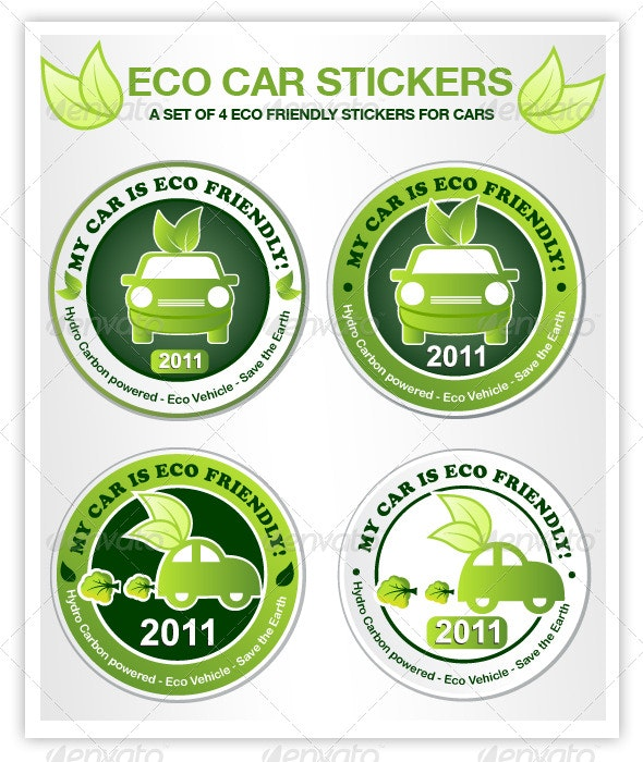 Eco Car Stickers - Conceptual Vectors