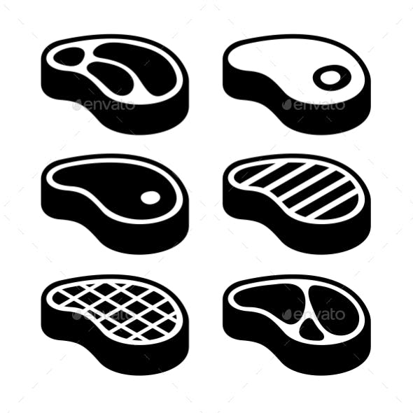 Steak Icons Set. Vector