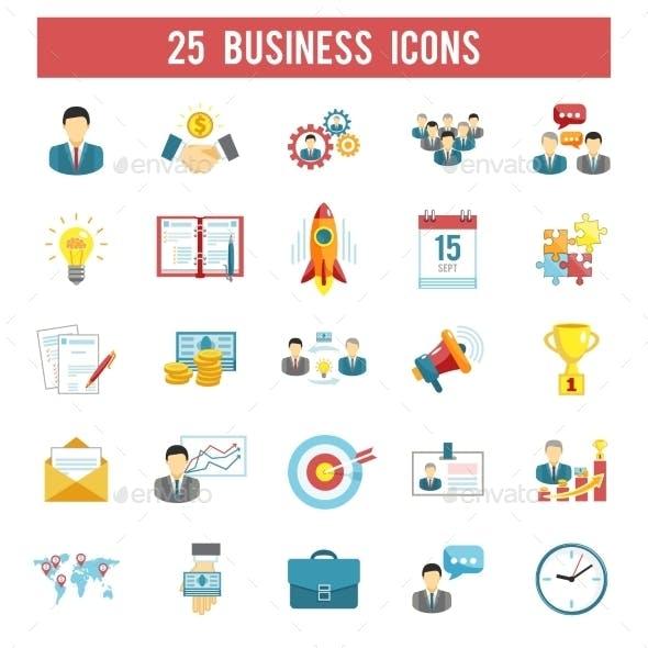 Business Startup Flat Icons Set